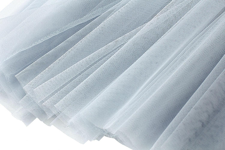 DRGE Women's Mesh Mid-Length Skirt High Waist Pleated A-Line Hem Skirt Summer