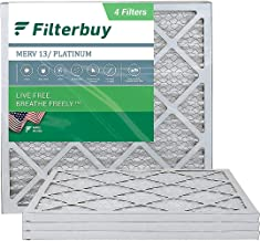 FilterBuy 20x20x1 Air Filter MERV 13, Pleated HVAC AC Furnace Filters (4-Pack, Platinum)