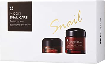 Mizon Snail Care Caress my Face Set: All in One Snail Repair Cream (75ml) and Snail Repair Eye Cream (25ml)   Day and Night Face Moisturizer with Snail Mucin Extract, Eye Cream for Wrinkless