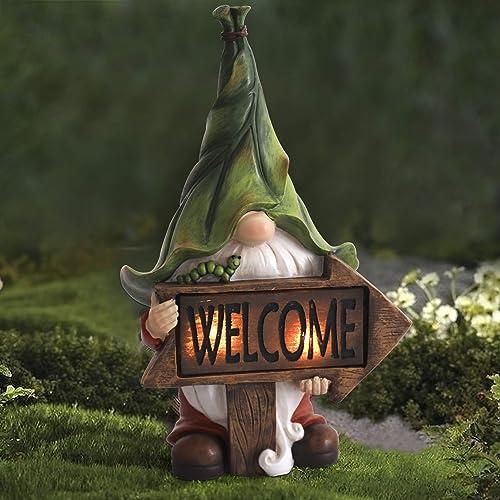 LA Jolie Muse Figurine de Jardin en résine - Tomte de Noël à Longue Barbe Tenant Un Panneau de Bienvenue avec des lum...