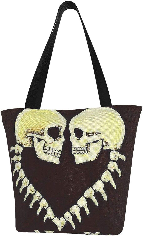 Funny Heart Skull Love Halloween Themed Printed Women Canvas Handbag Zipper Shoulder Bag Work Booksbag Tote Purse Leisure Hobo Bag For Shopping