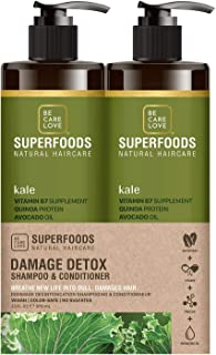 BCL Be Care Love Superfoods Kale Damage Detox Shampoo, Conditioner Liter Duo