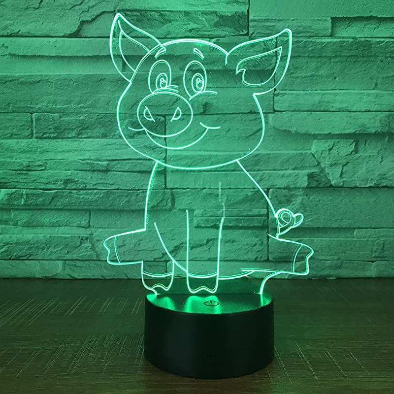 3D Pig Night Light Animal USB Touch Switch Decor Lamp Table Desk Optical Illusion Lamps 7 Color Changing Lights LED Table Lamp Home Love Brithday Children Kids Toy Gift