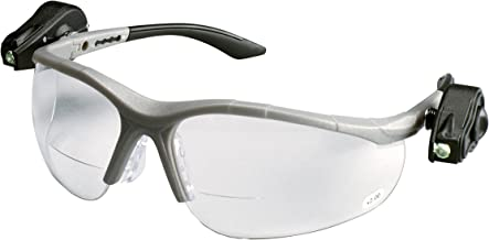 3M Safety Glasses with Readers, Light Vision, +2.5, 1 Pair, ANSI Z87, Anti-Fog Anti-Scratch Clear Lens, Gray Frame, Adjustable Ultra-Bright LED Lights Attached