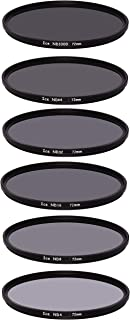 ICE 72mm 6 ND Filter Set Slim ND1000 ND64 ND32 ND16 ND8 ND4 Neutral Density 10, 6, 5, 4, 3, 2 Stop Optical Glass 72