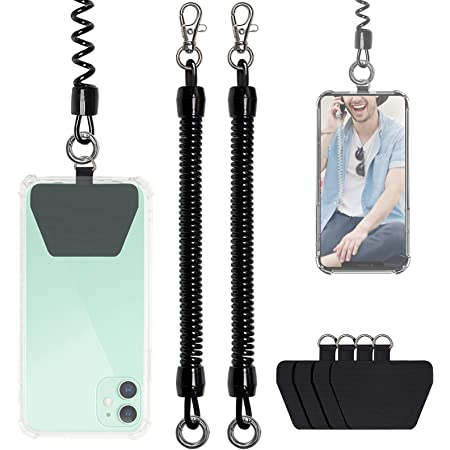 Cell Phone Lanyard Tether with Patch, takyu Universal Smartphone Wrist Strap, Including 2 Pc Black Phone Chain Cord and 4 Pics Transparent Phone Tether Tabs (Black Black)