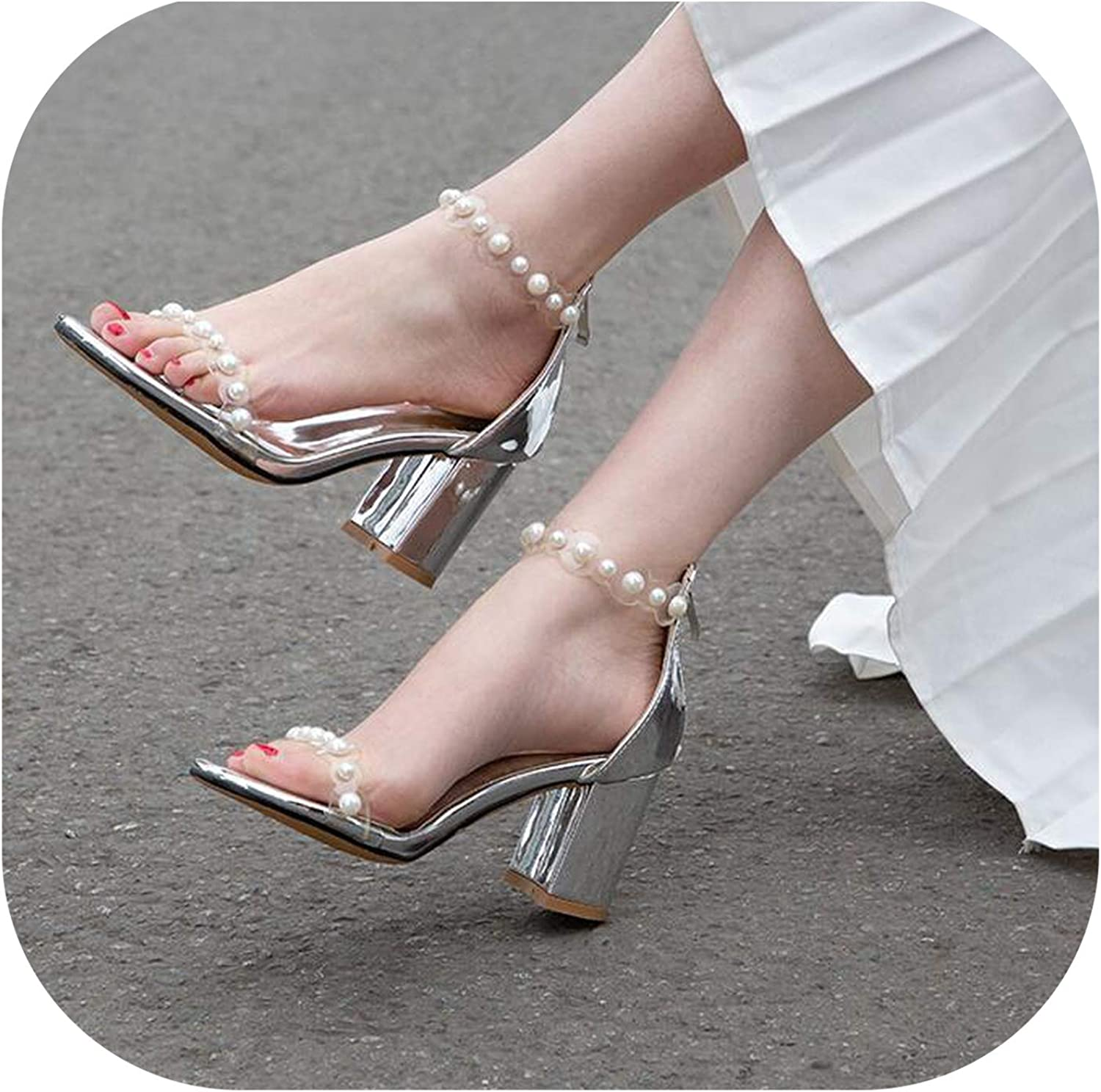Fish Mouth Sandals for Women with Pearl High HEE Open Toe Rhitone Slipper Ankle High F282