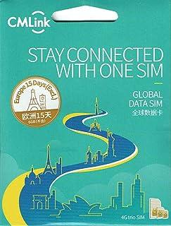 CMlink ヨーロッパ 35カ国 4GLTE/3GプリペイドデータSIM / 6GB 4G/LTE/3Gデータ/ 15日間利用可能/ 3-in1 SIMカード/ データ通信専用/シムフリー端末のみ対応/ クレジットカード・契約不要/ 基本設定不要/データローミングオンのみ/ マニュアル付/ アイスランド, アイルランド, イギリス, イタリア, エストニア, オーストリア, オランダ, キプロス, ギリシャ, クロアチア, ジブラルタル, スウェーデン, スペイン, スロバキア, スロベニア, チェコ共和国, デンマーク, ドイツ, ノルウェー, ハンガリー, フィンランド, フェロー諸島, フランス, フランス領ギアナ, ブルガリア, ポーランド, ポルトガル, マルタ, マルティニーク, ラトビア, リトアニア, リヒテンシュタイン, ルーマニア, ルクセンブルク, レユニオン島