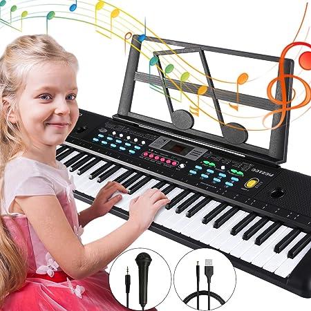 Teclado Piano 61 teclas, Magicfun Teclado de Piano Portátil, Teclado con soporte y música Micrófono, Juguete educativo Regalo para Niño Niña ...
