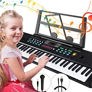 $42 » Electronic Keyboard Piano 61 Key,Tencoz Portable Piano Keyboard with Music Stand, Microphone, Power Supply Digital Music Piano Keyboard for Kids