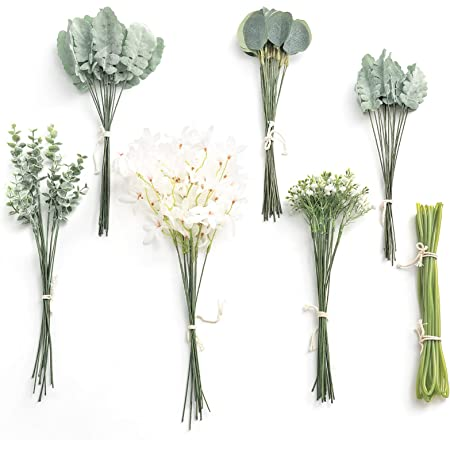 Ling's moment Artificial Greenery Spray Box Set, 98pcs with 6 Kinds of Dusty Filler for Wedding Bouquet Table Centerpieces and Floral Arrangement