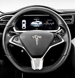 Be A Blinger Unique Tesla Auto Accessory Steering Wheel Crystal Badge Bling T Logo Decal Handmade Rhinestone Emblem Decoration Cover Car Sticker Trim Gift Box for Tesla Model S (Whole Set