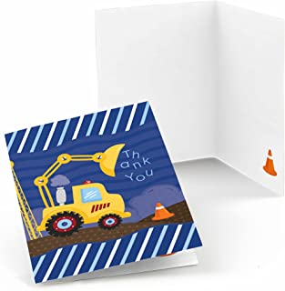 Construction Truck - Baby Shower or Birthday Party Thank You Cards - Set of 24