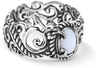 Sterling Silver Multi Gemstone Choice of Choice of 6 Colors Rope and Scroll Band Ring Sizes 5 To 10