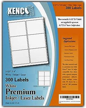 "8.5/"" X 5.5/"" Kenco 100 Pc Premium White Address Shipping UPC Laser//Inkjet Labels"