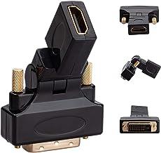 Adapter Hdmi na DVI Obrotowy -270° (DVI-D Dual Link 24+1) HDMI żeński na DVI Męski adapter ze złotym kablem 1080P Full HD ...