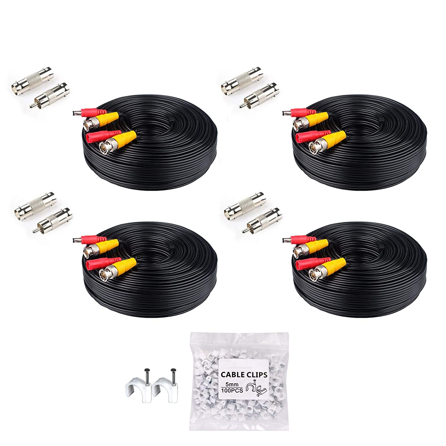 LONNKY 4Pack 4K 8MP 5MP 2MP 100Ft 30 Meters Pre-Made All-in-One BNC Cables for Security Camera System and CCTV Bullet Cameras or Dome Cameras(Black)