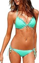 Linda Per Comfortable Womens Bikini fashion Padded Halter Neck top and strings bottom swimsuit 2 Piece Tankini