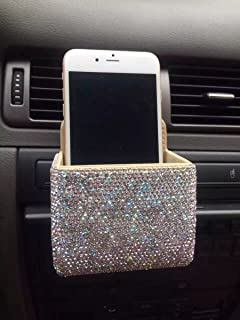 TISHAA Bling Bling Car Air Vent Mobile Cellphone Pocket Bag Pouch Box Storage Organizer Carrying Case (2 White Full Stones)