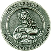 Patron Saint of Breast Cancer St Agatha Pocket Token with Prayer Back