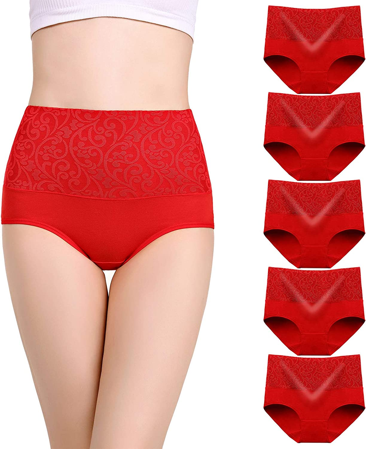 YOULEHE Women's Cotton Underwear Briefs High Waist Full Coverage Soft Breathable Panties at  Women's Clothing store