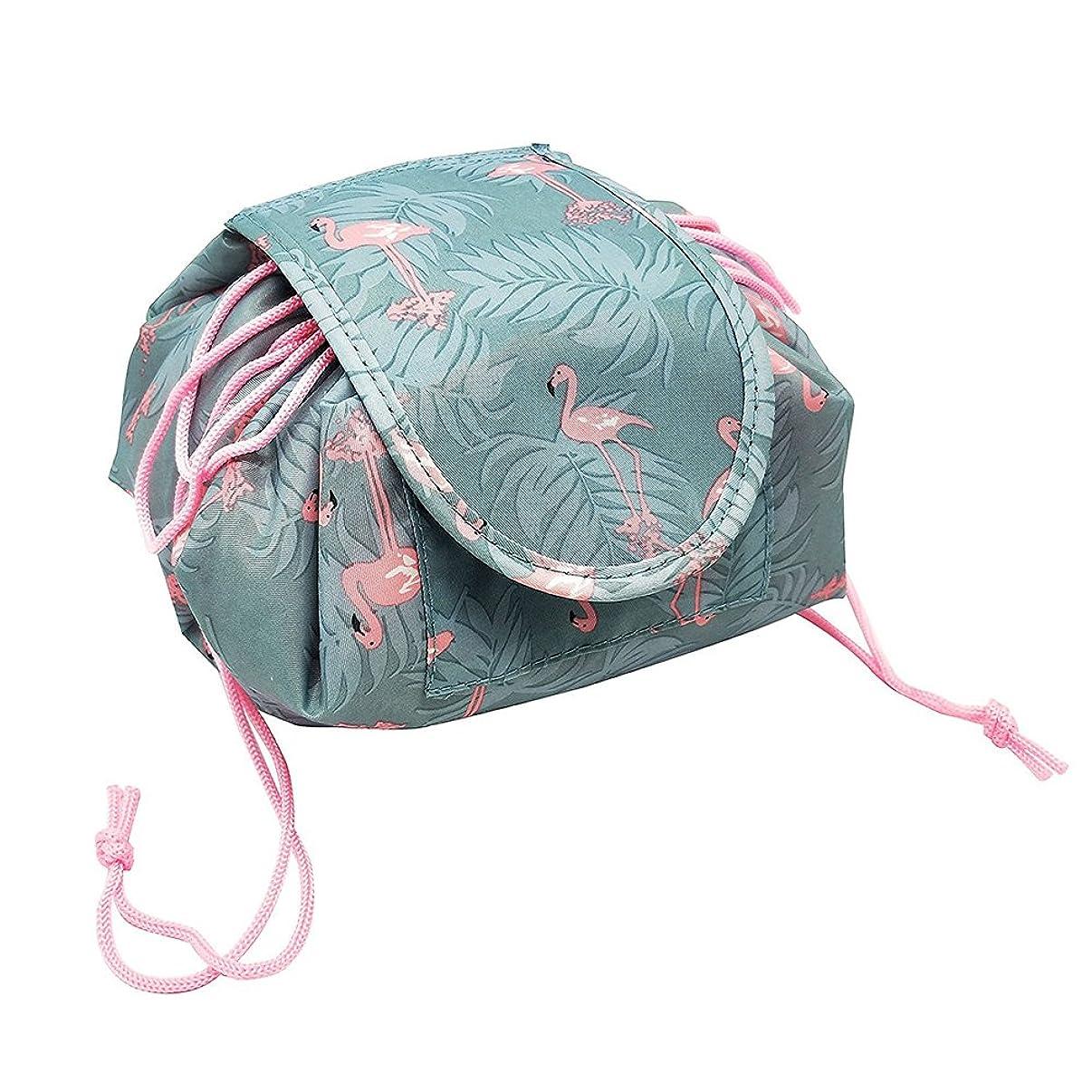 乳とまり木シャープYOE(ヨイ) 化粧ポーチ 機能的 マジックポーチ 化粧 ポーチ 巾着 メイクポーチ 大容量 化粧品収納ボックス メイクバッグ コスメ収納 (フリーサイズ, フラミンゴ)