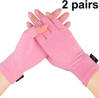Compression Gloves, 2 Pairs Open Finger Hand Arthritis Gloves for Women Men, Fingerless Design to Relieve Painfrom Rheumatoid and Osteoarthritis(Pink, Large)