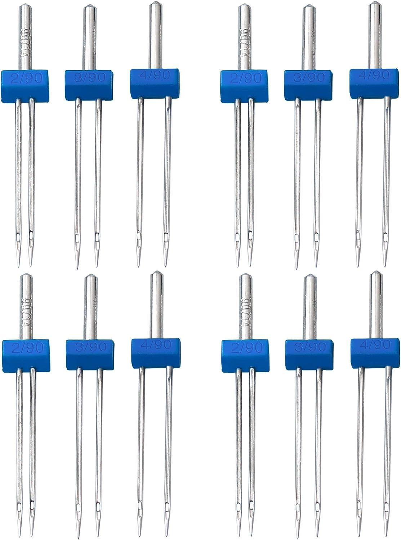 Nuoshen - 12 agujas dobles para máquina de coser, agujas gemelas en 3 tamaños diferentes 2 mm, 3 mm, 4 mm