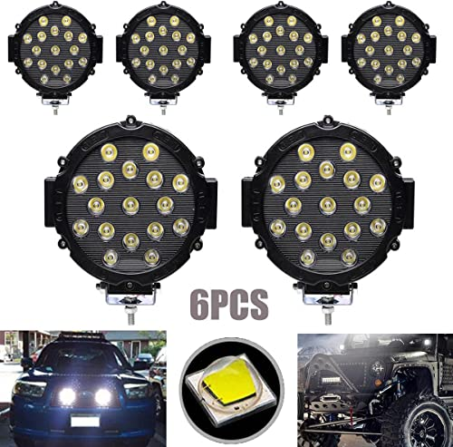 high quality Pack-6 LED Work Light Black Round Lamp Spot Beam 5100LM 6000K Super Bright Fast Cooling IP68 Waterproof Lighting for Off Road 4X4 ATV SUV Truck Vehicles, 2 outlet sale Year 2021 Warranty outlet online sale
