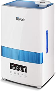 LEVOIT Cool Mist Humidifier for Bedroom, 4.5L Ultrasonic Air Humidifier for Babies and Large Room, Humidity Monitor, Essential Oils, Timer, Whisper-Quiet, Auto-off, Runs for 40 Hours, 2-Year Warranty