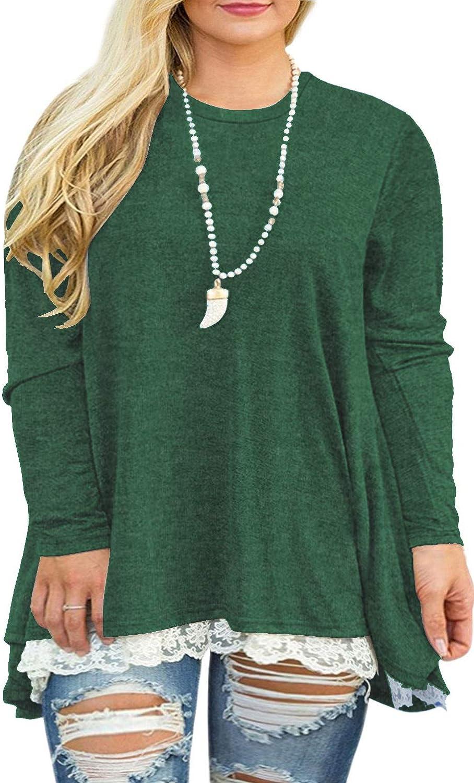 VISLILY Womens San Antonio Mall Plus Size Tunic Tops Long Max 82% OFF A-Li Casual Lace Sleeve
