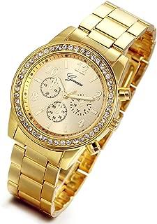 Men's Women's Gold Stainless Steel Quartz Rhinestone Wrist Watch for Christmas