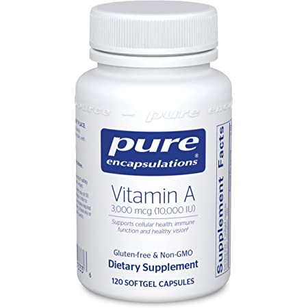 Pure Encapsulations - Vitamin A 10,000 IU - Supports Vision, Growth, Reproductive Function, Immunity, Skin and Mucous Membranes - 120 Softgel Capsules