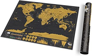 Small World Scratch Map – World Travel Map with Carrying Tube – Deluxe Scratch Off Map – Fun & Colorful Scratch Poster – Black & Gold