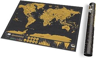Petite carte du monde à gratter de luxe - Carte du monde avec tube de transport - Affiche amusante et colorée à gratter - ...