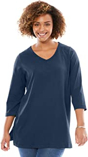 Woman Within Women's Plus Size Perfect V-Neck Three-Quarter Sleeve Tunic