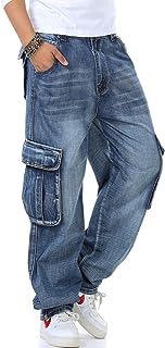 Yeokou Men's Casual Loose Hip Hop Denim Barrel Pants Jeans with Cargo Pockets