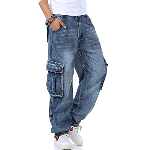 72abb0d5e Yeokou Men s Casual Loose Hip Hop Denim Work Pants Jeans with Cargo Pockets