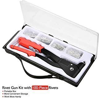 Audew Rivet Gun Kit with 100-Piece Rivets Heavy Duty Hand Riveter Set Professional Hand Repair Tools Riveter for Automotive Railway Duct Work