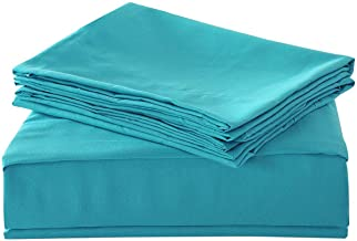 HollyHOME 1500 Soft Hypoallergenic Brushed Microfiber Bed Sheet Set, 3 Pieces Twin Size Sheets, Teal