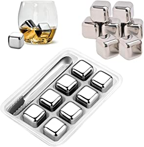 Reusable Ice Cube Set of 8, Stainless Steel Ice Cubes with Non-Slip Ice Tongs, Ice Cube Tray, Whiskey Stones, Chilling Stone for Wine Liqueurs, Wine, Beverage Juice and Soda