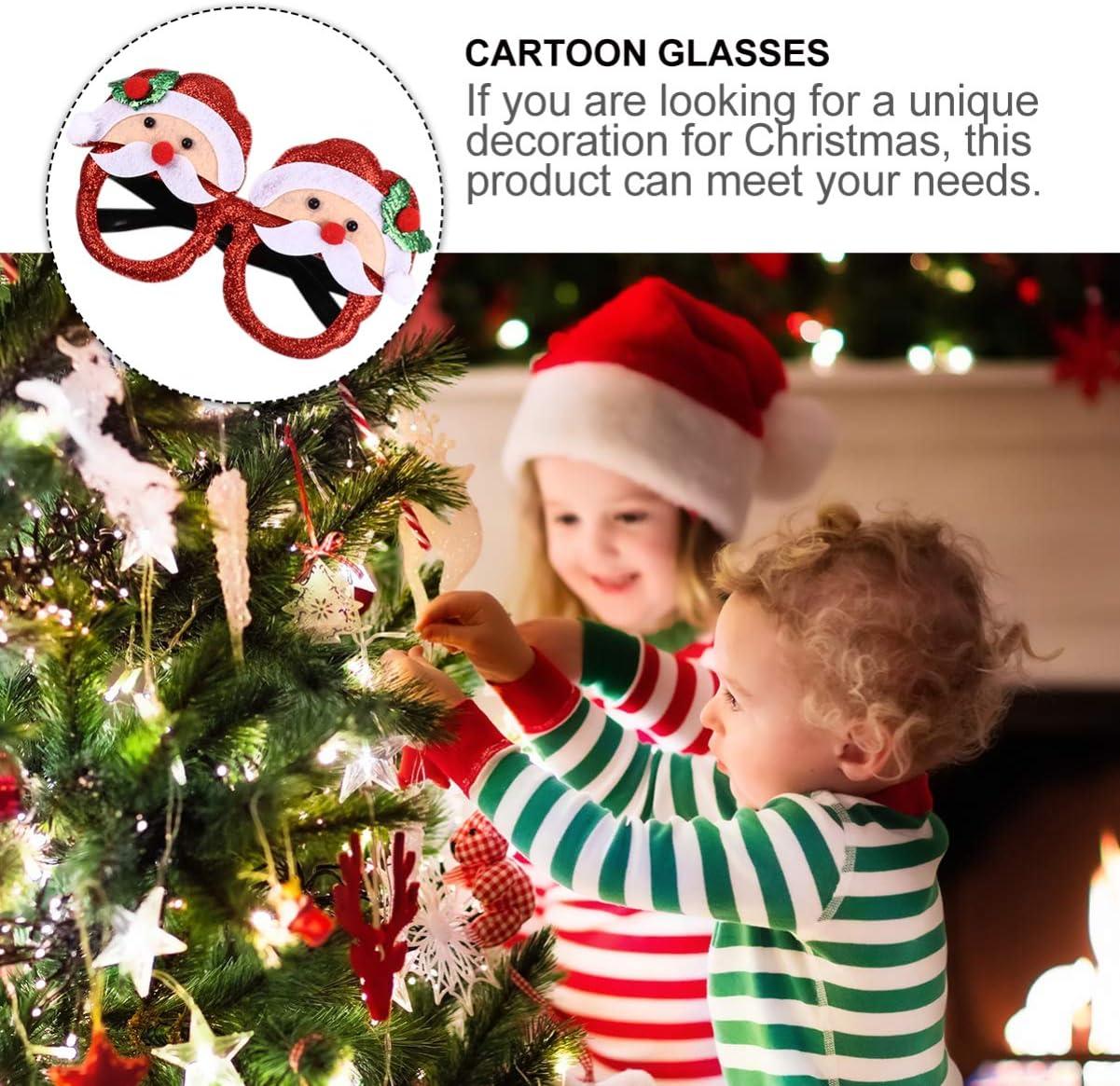 Amosfun 4Pcs Christmas Party Glasses Santa Snowman Hats 2021 Happy New Year Eyeglasses Frames Party Costume Eyewear Photo Props for Xmas Holiday Party Style 1