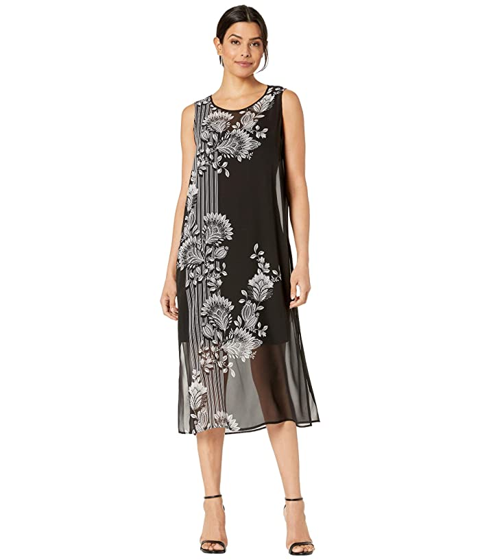 Best 1920s Prom Dresses – Great Gatsby Style Gowns Vince Camuto Sleeveless Ornate Melody Chiffon Overlay Dress Rich Black Womens Dress $67.34 AT vintagedancer.com