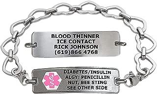 Divoti Custom Engraved Medical Alert Bracelets for Women, Stainless Steel Medical Bracelet, Medical ID Bracelet w/Free Engraving – Classic Tag w/Open Heart Chain – Color/Size