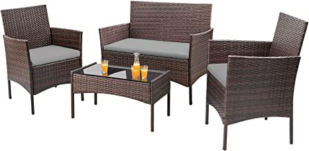 Homall 4 Pieces Outdoor Patio Furniture Sets Rattan Chair Wicker Set, Outdoor Indoor Use Backyard Porch Garden Poolside Ba...