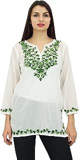 Phagun Women's Floral Aari Work Casual Tunic Long Sleeve Georgette Top