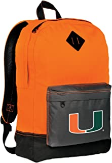 Broad Bay Miami Hurricanes Backpack Classic Style University of Miami Backpacks High Visibility HI VIS Orange