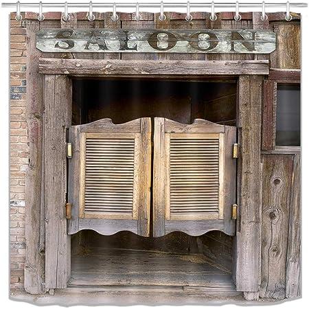 Western Cowboy Farmhouse Bathroom Shower Curtains Rustic 69/'/'W By 70/'/'L