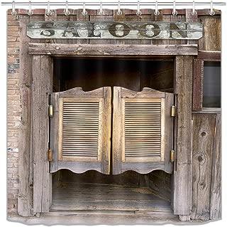 LB Rustic West Saloon Stall Shower Curtain Set, Vintage Retro Cowboy Western Country Farm Bathroom Decor, Waterproof Fabric Shower Curtain 70x70