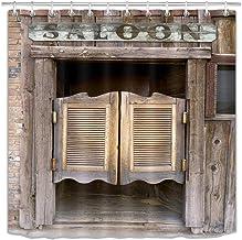 LB Rustic Western Shower Curtain Vintage Antique Wild West Cowboy Saloon Bar Retro Country Farmhouse Bathroom Curtain with...